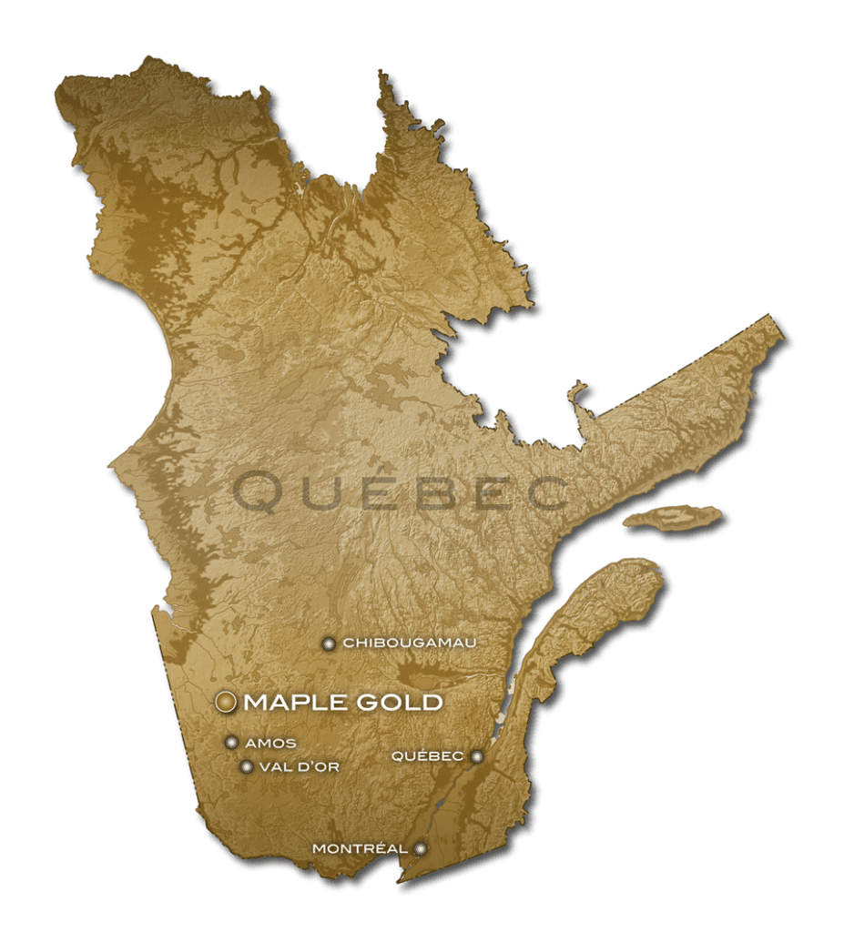 Maple Gold Mines Quebec Map