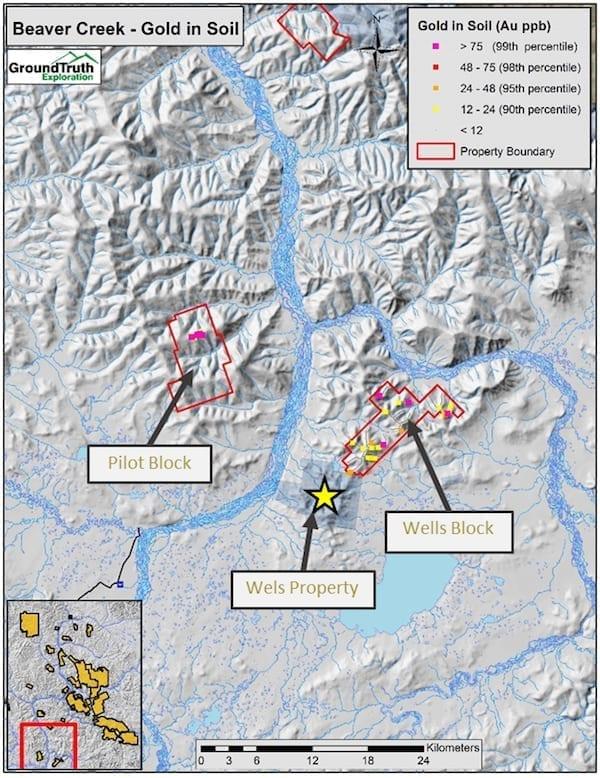 Beaver Creek gold in soil map