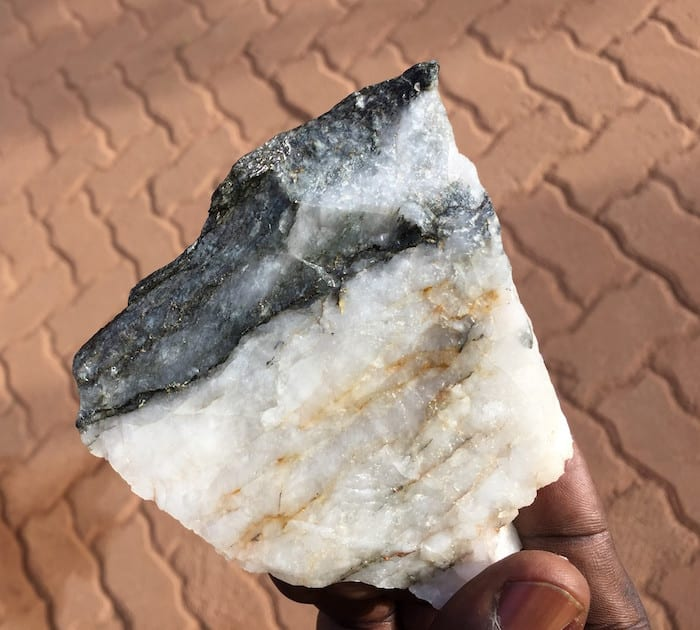 rock sample with visible gold veins