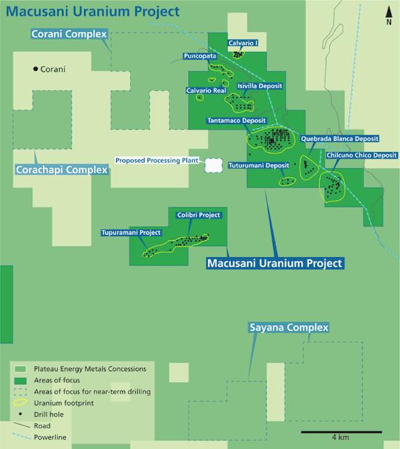plateau energy macusani uranium project map