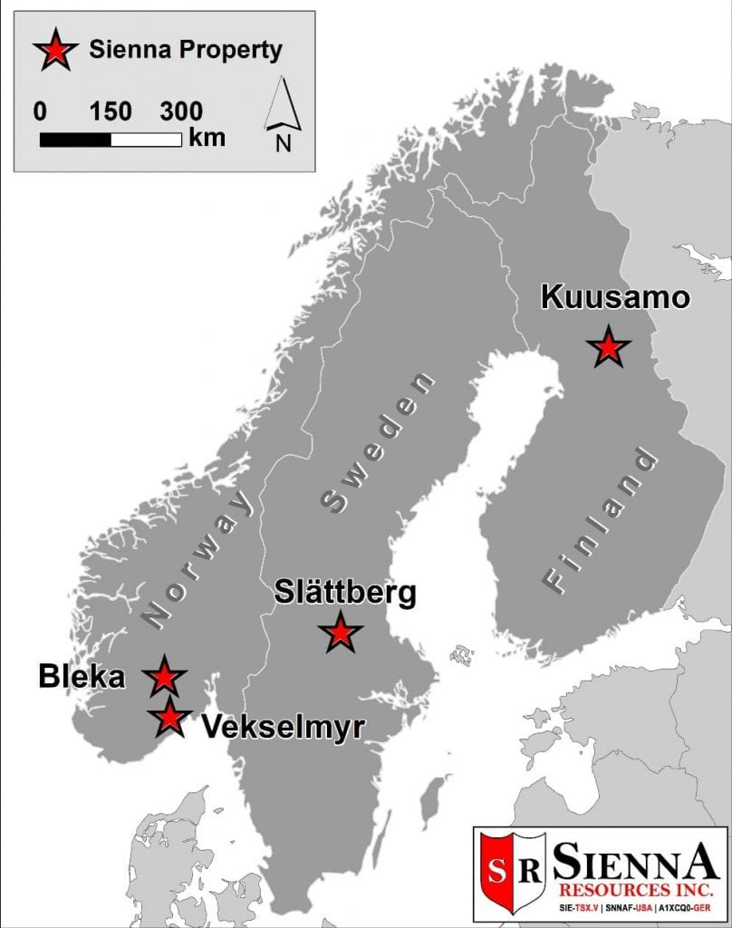 Sienna Resources Bleka Gold and Vekselmyr Gold Project