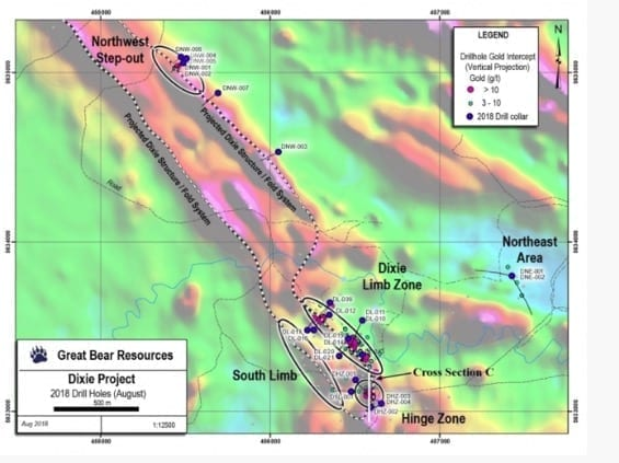 great bear resources dixie drill holes map