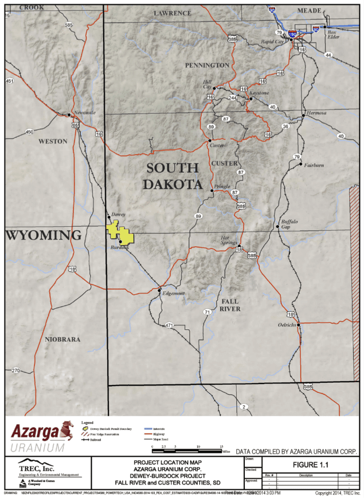 map of south dakota showing project location