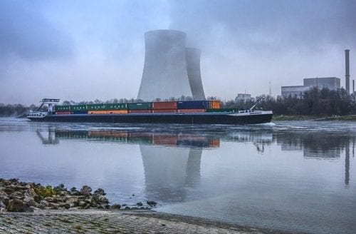 Nuclear Cooling Towers Beside Water