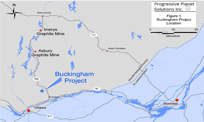 Map of the Buckingham Graphite Project