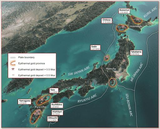 mining in japan map