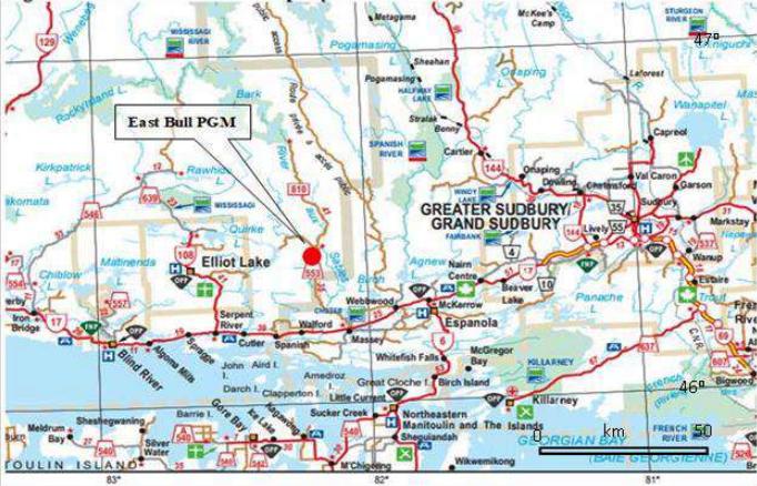 Canadian Palladium project map