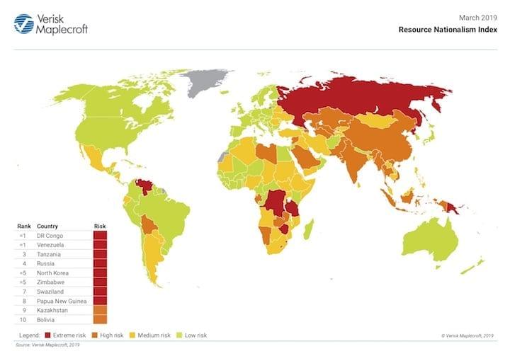 Verisk Maplecroft's world map for RNI in 2018.