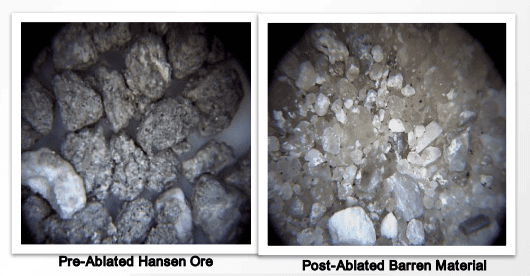 pre and post ablated ore