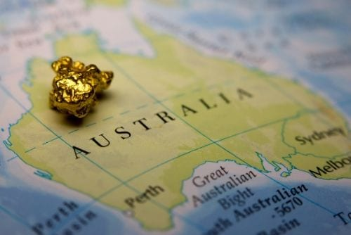 gold nugget on a map of australia