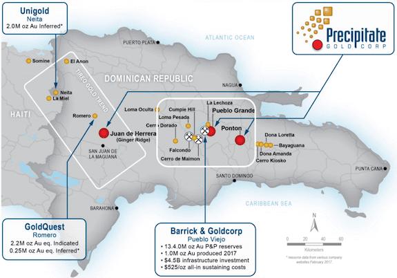 precipitate gold dominican republic map