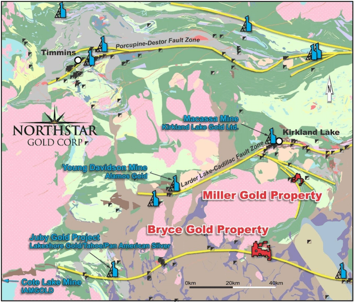 northstar gold map miller gold and bryce gold properties