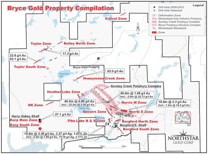 northstar gold map bryce gold property