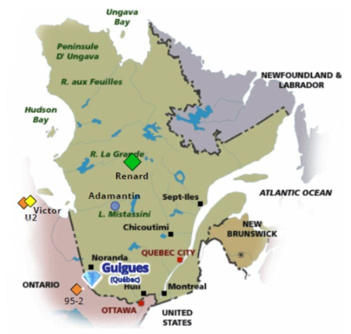 map of quebec showing project location