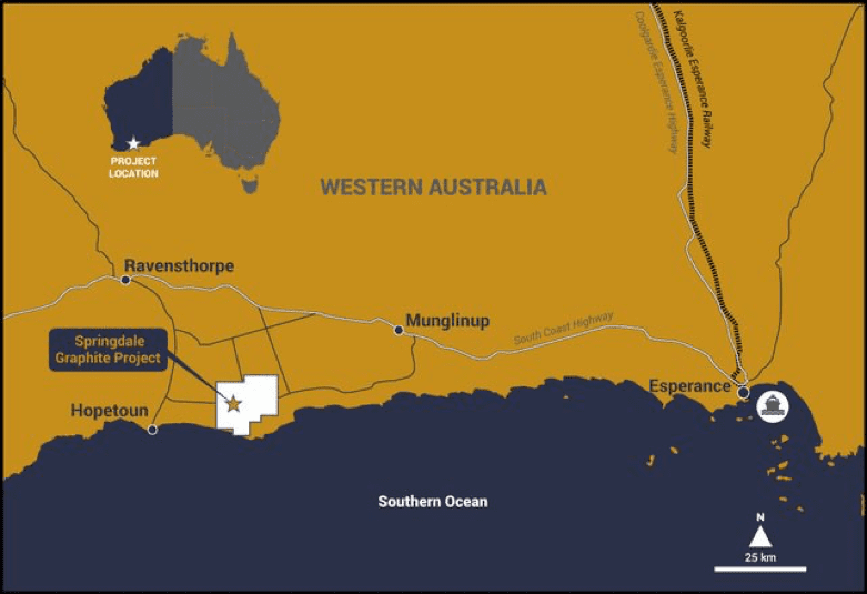 map of western australia showing location of springdale graphite project