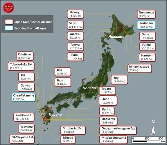 Japan Gold fig 1 Project Locations