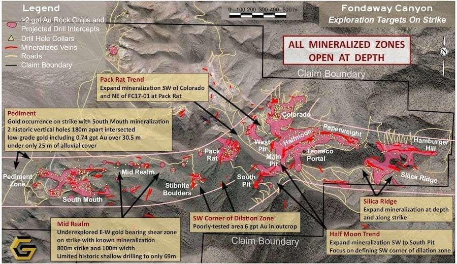 Fondaway Aerial Map with Exploration Targets
