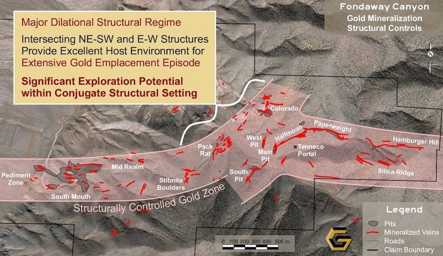 Fondaway Aerial Mineralizing Structural Setting