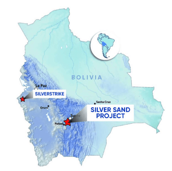 new pacific metals map of project locations in Bolivia