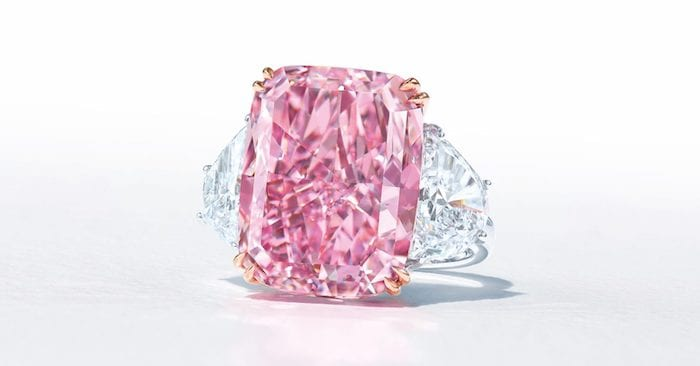 a large pink diamond on a white background.