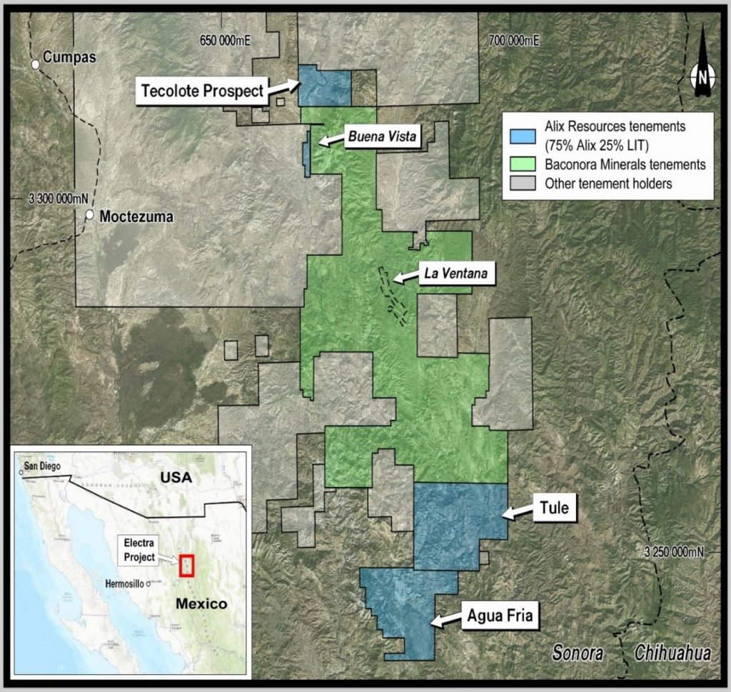 Figure 1 Location of the Electra Project, Sonora, Mexico.