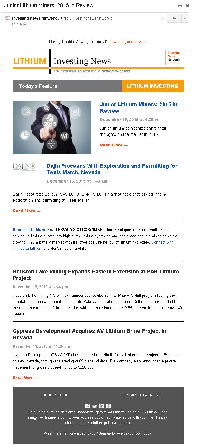 Free Lithium Investing Newsletter
