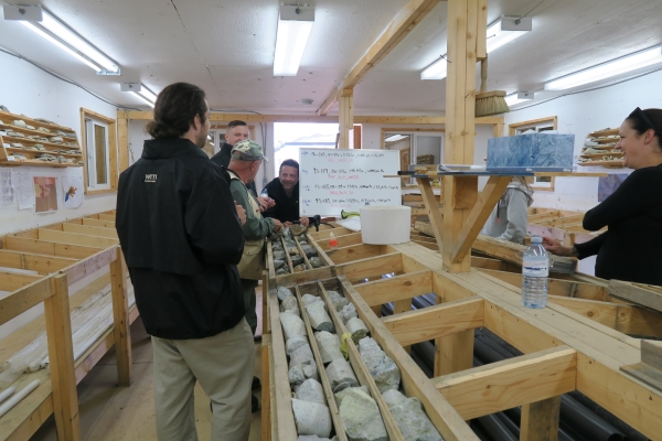 Checking out Western Copper's core shack with Senior Geologist Heather Brown
