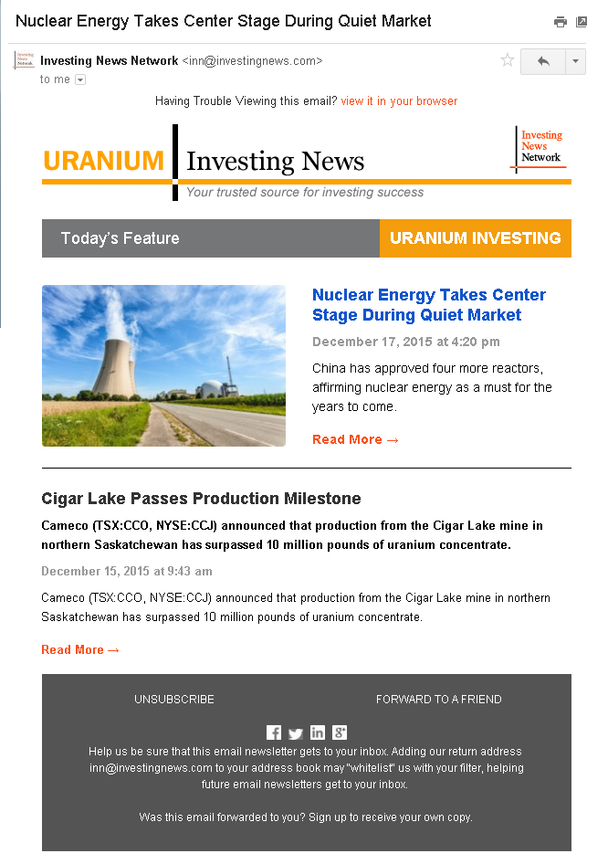 Free Uranium Investing Newsletter