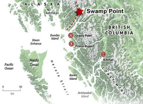 Area Map Showing Highbank's Swamp Point Location