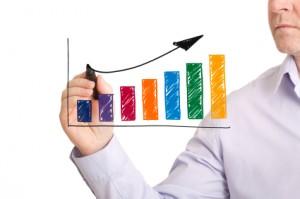 Hand drawn colourful profit growth chart